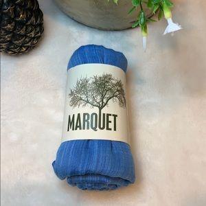 Indigo colored cotton and silk hand woven shawl.